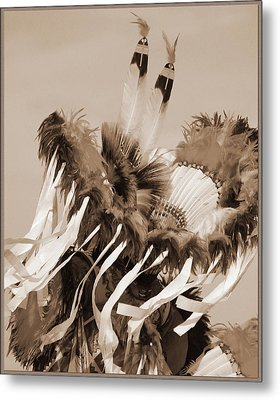 Metal Print featuring the photograph Fancy Dancer In Sepia by Heidi Hermes