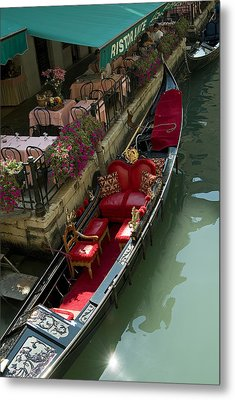 Fancy Gondola Parked In A Canal Next Metal Print by Todd Gipstein