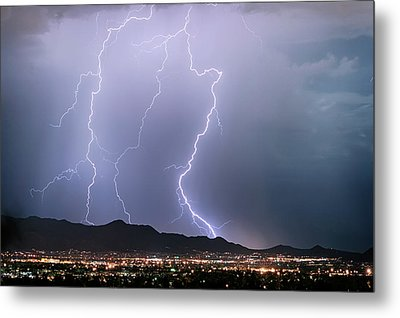 Fantastic Lightning Show Over City Lights Metal Print