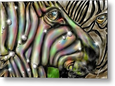 Metal Print featuring the digital art Fantastic Zebra by Darren Cannell