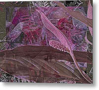 Fantasy African Violets And Peace Lily Pink, Red And Pink Metal Print