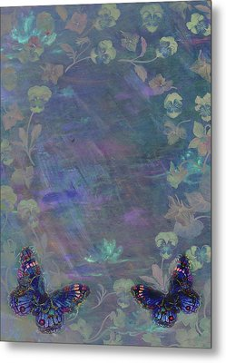 Metal Print featuring the painting Fantasy Butterfly Painted Pansy by Judith Cheng