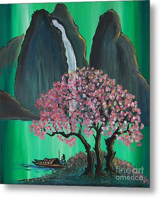 Metal Print featuring the painting Fantasy Japan by Jacqueline Athmann