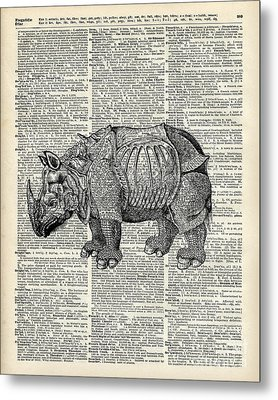 Fantasy Steampunk Rhinoceros Metal Print