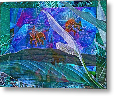 Fantasy With African Violets And Peace Lily 42 Metal Print