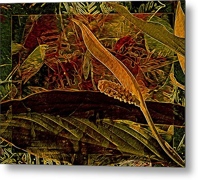 Fantasy With African Violets And Peace Lily Red And Gold Metal Print