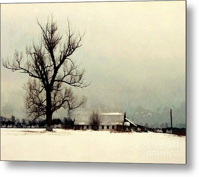 Metal Print featuring the photograph Far From Home - Winter Barn by Janine Riley