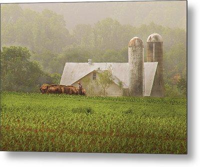 Farm - Farmer - Amish Farming Metal Print by Mike Savad