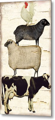 Farm Animals Pileup Metal Print by Mindy Sommers