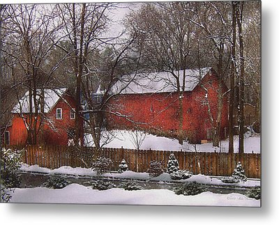 Farm - Barn - Winter In The Country  Metal Print