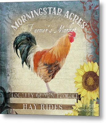 Farm Fresh Barnyard Rooster Morning Sunflower Rustic Metal Print by Audrey Jeanne Roberts
