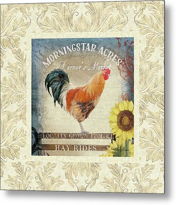 Farm Fresh Damask Barnyard Rooster Sunflower Square Metal Print