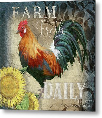 Farm Fresh Red Rooster Sunflower Rustic Country Metal Print