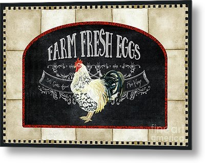 Metal Print featuring the painting Farm Fresh Roosters 1 - Fresh Eggs Typography by Audrey Jeanne Roberts