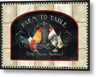 Metal Print featuring the painting Farm Fresh Roosters 2 - Farm To Table Chalkboard by Audrey Jeanne Roberts