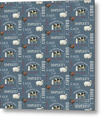 Farm Fresh Typography Country Cow Sheep Rooster Milk Blue Pattern Metal Print by Audrey Jeanne Roberts