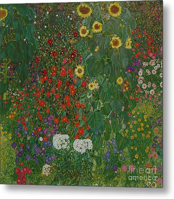 Farm Garden With Flowers Metal Print by Gustav Klimt