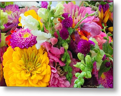 Farm Market Flowers Metal Print by PhotohogDesigns