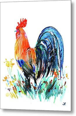 Metal Print featuring the painting Farm Rooster by Zaira Dzhaubaeva