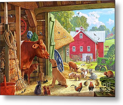 Farm Scene In America Metal Print by Steve Crisp