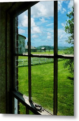 Farm Seen Through Window Metal Print