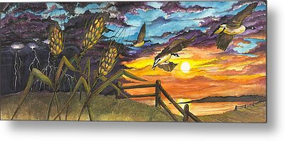 Metal Print featuring the painting Farm Sunset by Darren Cannell