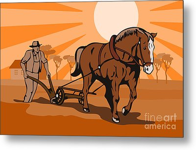 Farmer Plowing Field Metal Print by Aloysius Patrimonio