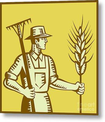 Farmer With Rake And Wheat Woodcut Metal Print by Aloysius Patrimonio