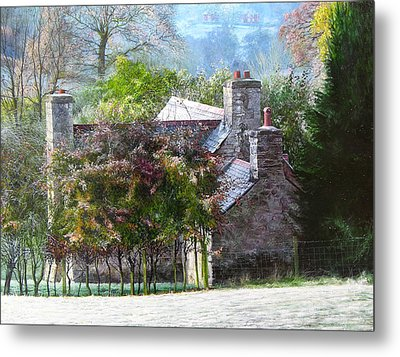 Farmhouse On A Cold Winter Morning. Metal Print by Harry Robertson
