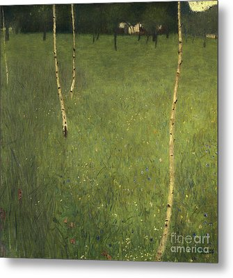 Farmhouse With Birch Trees Metal Print by Gustav Klimt