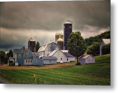 Farming Before The Storm Finger Lakes New York 04 Metal Print by Thomas Woolworth
