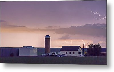Farming Country Lightning Storm Watching Panorama Metal Print by James BO  Insogna