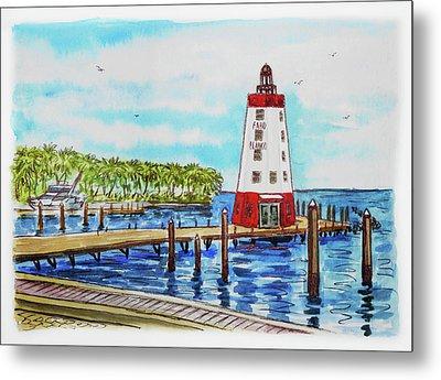 Faro Blanco Lighthouse Florida Keys Metal Print