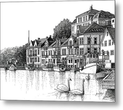 Farsund Harbor In Ink Metal Print by Janet King