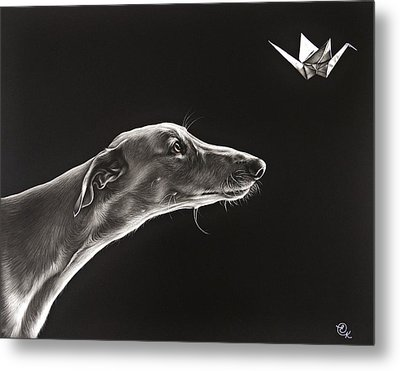 Metal Print featuring the drawing Fascination by Elena Kolotusha