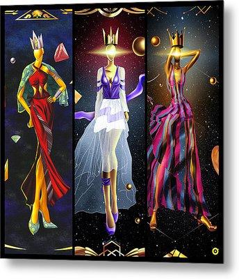 Fashion Goddess Triptych No.1 Metal Print