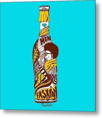 Fashion In A Gold Bottle Metal Print by Kenal Louis