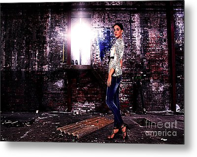 Fashion Model In Jeans  Metal Print by Milan Karadzic