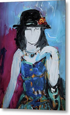 Fashion Woman With Vintage Hat And Blue Dress Metal Print by Amara Dacer