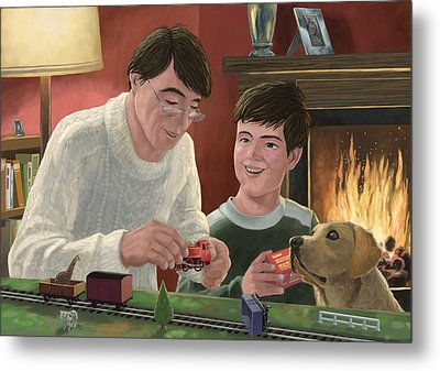 Father And Son Building Model Railway Metal Print by Martin Davey