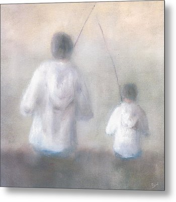 Father And Son Fishing Metal Print by Alan Daysh