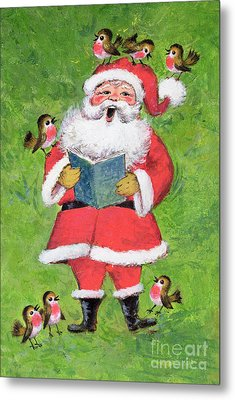 Father Christmas And Robin Chorus Metal Print by Stanley Cooke