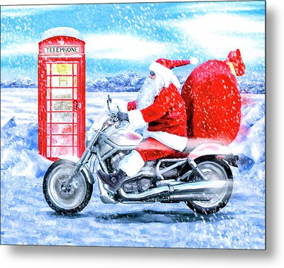 Father Christmas Has A New Bike Metal Print
