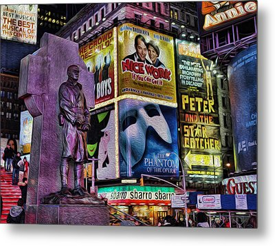 Father Duffy Watching Over Times Square Metal Print