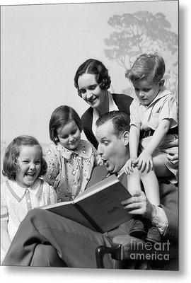 Father Reading To Family, C.1930s Metal Print by H. Armstrong Roberts/ClassicStock