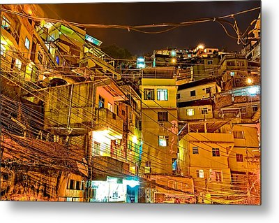 Metal Print featuring the photograph Favela Night by Kim Wilson
