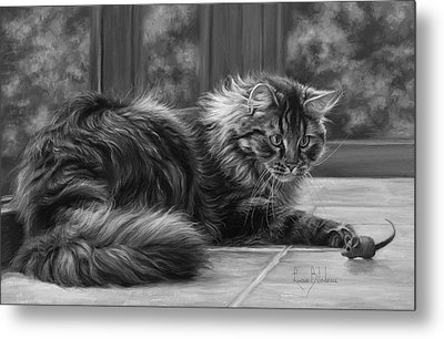 Favorite Toy - Black And White Metal Print by Lucie Bilodeau