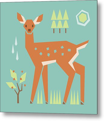 Fawn In The Meadow Metal Print