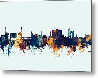 Metal Print featuring the digital art Fayetteville Arkansas Skyline by Michael Tompsett