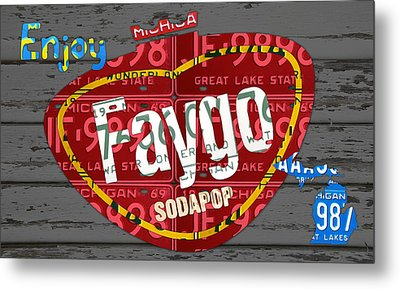 Faygo Soda Pop Recycled Vintage Michigan License Plate Art On Gray Distressed Barn Wood Metal Print